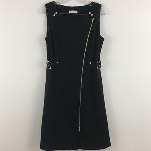 Calvin Klein Midi Black and Gold Dress Sz 10